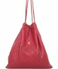 Chanel Vintage Red Leather Drawstring Bag - Chanel