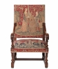 A Good Tapestry Upholstered Walnut Louis XIV Arm Chair