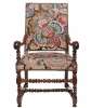 A Good Walnut Needlepoint Louis XIV Arm Chair