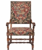 Pair of Superb Walnut Needlepoint Louis XIV Arm Chairs