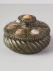 A southern Italian intaglio-inset serpentine marble 'Grand Tour' inkwell