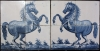 Wonderful pair of Frisian Harlingen hand decorated glazed tile panels, horses.