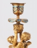 A pair of French ormolu Champleve candlesticks, circa 1880