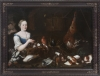 Two large pendant oil on canvas paintings, Hunter and Noble lady Flemish mid 18th C