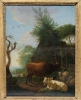 Dutch landscape with cows, sheep and a goat