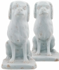 A Pair Sitting White Dutch Delft Dogs
