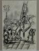 Mommie Schwarz, schets van bedrijvigheid in haven, houtskool op papier, jaren '20 - Mommie (S.L.) Schwarz