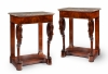 Pair of Dutch Empire trumeaus with carvings of swans and marble tops