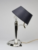 Tweelichts bureaulamp met donkerblauwe kap en zilveren voet, 835/000