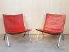 Poul Kjaerholm voor E. Kold Christensen, Rode leren stoel, PK22, 1956 - Poul Kjaerholm