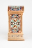 An attractive French gilt brass cloisonne enamel travel clock, circa 1880