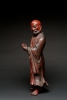 Large Chinese lacquered wood sculpture of Damo