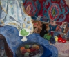 Still life with fruit and blue rag