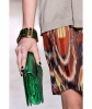 SS 2010 Dries Van Noten Runway Green Metallic Python Clutch