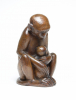 Barend Jordens, Wooden sculpture of a monkey with young, 1930s - Barend Jordens
