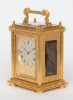 A fine English engraved gilt brass travel timepiece with blue john panels, Barwise London, circa 1840