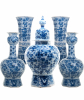 A Blue and White Dutch Delft 5-Piece Garniture