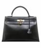Hermès Kelly 32 Sellier Black Box Gold Hardware - Hermès