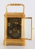 A fine French gilt brass Gorge case repeating carriage clock monogram FD circa 1880.