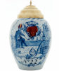 A Pair Blue and White with Yellow and Iron-red Dutch Delft Tobaccojars
