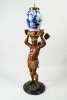 Polychrome painted wooden tobacco man with a Delft tobacco jar