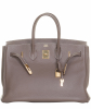 Hermès Birkin 35 Taurillon Clemence Doublure Chevre Etain - Hermès