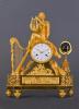 Een grote Franse vuurvergulde bronzen Empire pendule Orpheus met zijn lier