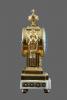Een vuurvergulde bronzen met witmarmer Louis Seize pendule Guenoux à Paris