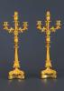 A pair of four-light restauration candelabra, around 1840