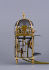 A small French brass lantern clock with alarm clock Jacques Bonleu à Orleans, around 1720