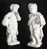 A pair of marble sculptures