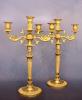 Een paar vuurvergulde kandelabers, drie-lichts, circa 1820.