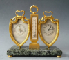 A decorative bureau set in Louis XVI style, clock, barometer and thermometer, by L. LeRoy & Cie, France, ca 1900.