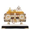 A fine French silvered and gilt 'boiler' industrial mantel clock, Guilmet, circa 1880.