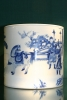 Blue and white porcelain brushpot Chinese Kangxi