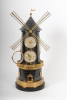 An extremely rare French 'pendule industrial' wind mill with automaton, barometer and two thermometers, circa 1880