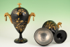 A pair of Dutch lacquered pewter chestnut vases.