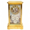 An attractive French brass Sèvres porcelain mounted mantel clock with perpetual calendar, circa 1880