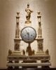 A very fine Louis XVI portico  clock with Pallas Athena, gilt bronze and white marble, Herman à Paris. France ca. 1780.