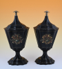 A pair of lacquered tin chestnut vases.