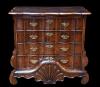 A Dutch burr walnut chest of drawers with 'bakwaaier'