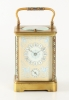 Corniche cased carriage clock cloisonné enamelled columns and handle, and porcelain front