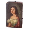A French musical cylindre box with a polychrome painted portrait of an elegant lady, circa 1840