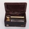 Een Franse cylinder speeldoosje met een polychroom beschild deksel, omstreeks 1840