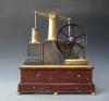 Een Guilmet industrie klok, vliegwiel pompklok met barometer en thermometer, ca. 1890.