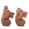 Pair of small Chinese pottery bears with unfired pigments.