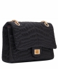 Chanel Black Satin Croc Embossed 2.55 Reissue Flap Bag - Chanel