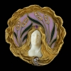 Art Nouveau venster emaille broche