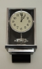 W35  Large nickel plated Art Deco J. L. Reutter Wall Hanging Three-Glass Atmos Clock.