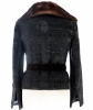 Dolce & Gabbana Black Tweed Blazer with Sequins Fur Trim